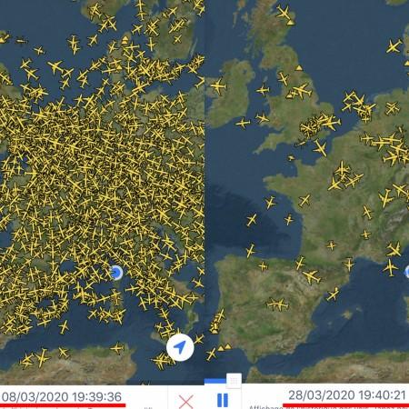 The effect of Coronavirus on air travel in Europe