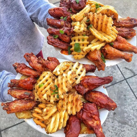Waffle fries with chicken wings
