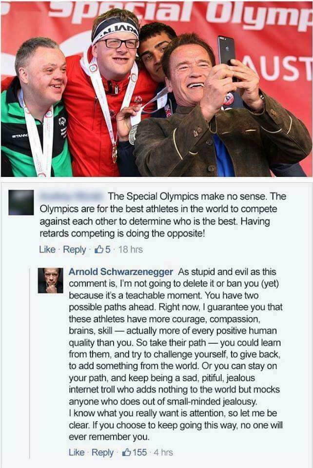 Guy gets wrecked in a reply by Arnold Schwarzenegger