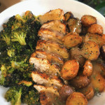 Chicken breast, mini garlic butter potatoes, and roasted broccoli
