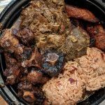 Goat and Oxtail Combo w/ Rice & Beans and Fried Plantains @ Back A Yard Caribbean Grill, Downtown San Jose