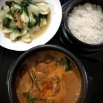 Thai red beef curry n bok choy stir-fry
