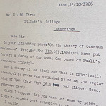 Fermi-Dirac statistics: Fermi letter to Dirac on the theory of ideal gas