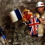 Engineers from the UK and France meet during the construction of the channel tunnel, 1990