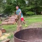 Helping to break the wood