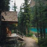 Cabin on the shores of Lake O'Hara at Yoho National Park, British Columbia, Canada