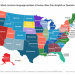 Most common language spoken in each state after English and Spanish