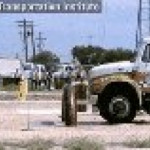 This is what happens when a truck tries getting past a security barrier