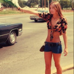 1960's hippie chick selling flowers on the highway🌼