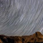 Star trails over Yosemite valley