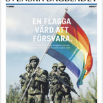 """Ad on first page of one of Sweden's largest newspapers (""""A flag worth defending"""")"""