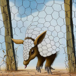 This painting, by my father Norman Parker, of an armadillo escaping from a compound
