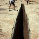 """The """"Black Crack"""" along Utah's White Rim Trail, a natural fissure in the rock a few feet wide and deep enough to kill you"""