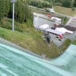 Jumping a ski jump with a bike