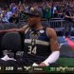 Giannis Antetokounmpo is overcome with emotion courtside after winning his first NBA Championship, the second on Milwaukee Bucks' history