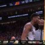 Bucks guard Jrue Holiday steals the ball from Devin Booker and throws up a clutch alley-oop to Giannis Antetokounmpo in Game Six of the NBA Finals