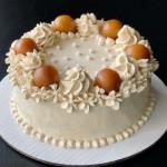 Homemade cardamom cake with whipped cream and gulab jamuns
