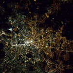 West and East Berlin, the division is still visible from space