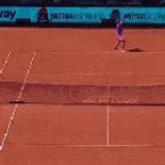Rafael Nadal catches opponent's shot with his racket