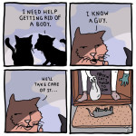"""""""Meow"""" means """"woof"""" in cat. (Credit@GoatToSelfComics)"""