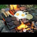 Scottish Breakfast Cooked on a Rock