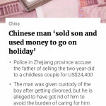 Selling your son and using the money for holiday