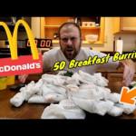Eating 50 McDonald's Breakfast Burritos