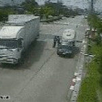 Guy gets taken out by truck side door