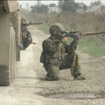 Russian soldier wearing Adidas (Moskva) sneakers during combat in the Second Chechen War