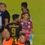 After a match, the winning team's Goalkeeper invited a fan with Down Syndrome on to the field to take a penalty kick