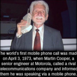 The first mobile phone call!