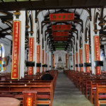 St. Joseph's Catholic church in Wuxi, China. Architecture in traditional Chinese style