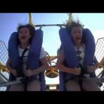 Seagull hits girl on Sling Shot Ride