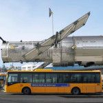 Hubble Space Telescope compared to the size of a bus