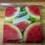 Cut up watermelon in a ziplock bag