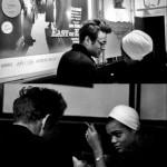 James Dean and Eartha Kitt at a bar in New York, 1955