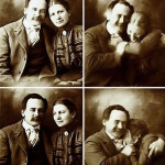 A Victorian couple try not to laugh while getting their portraits done, 1890