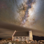 Milky Way over iconic New Zealand church
