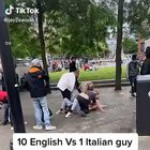 England Fans attack an Italian in Manchester