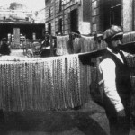 Pasta being hung to dry in the sun. Gragnano, Italy, late 1800s