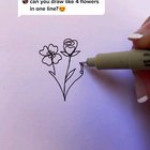 Drawing 4 flowers with 1 line