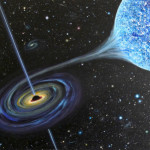Black hole and a blue giant. Somewhere in space this is probably happening