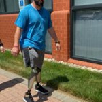 2nd day of walking practice on biotech c-legs. First time on a sidewalk with no grass