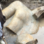 A giant Ramses II statue found by a group of archeologists