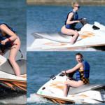 Sophie riding a jet ski