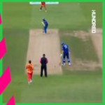 Adam Milne takes a stunning one-handed catch while bowling to dismiss a batsman in a recent game of cricket