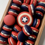 Red, white and blue macarons