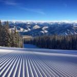 A freshly groomed ski slope
