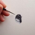 Adorable tiny cat illustration