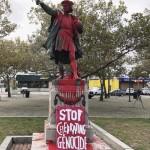 "Columbus statue vandalized in providence, rhode island ""stop celebrating genocide"""